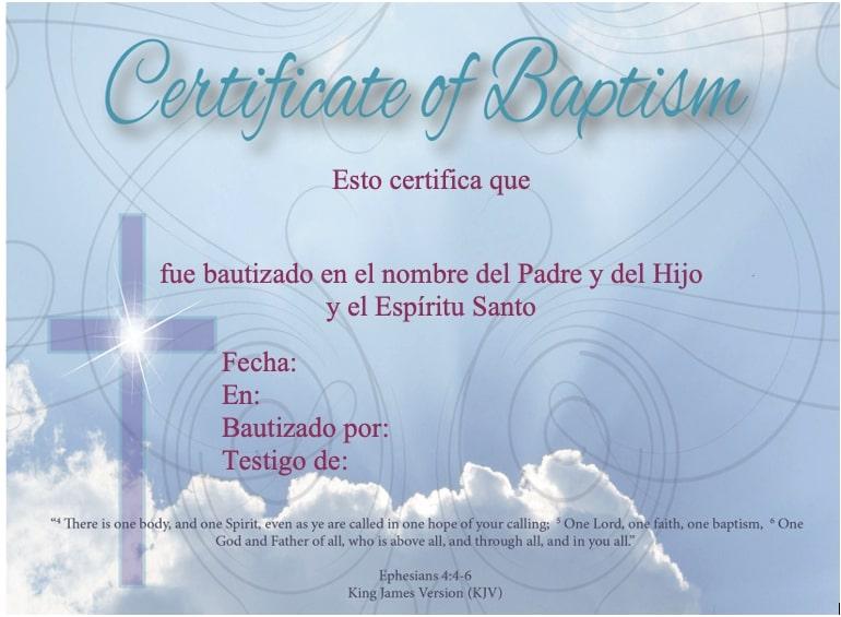 certificado de bautismo cristiano