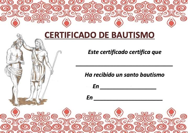certificado de bautismo catolico