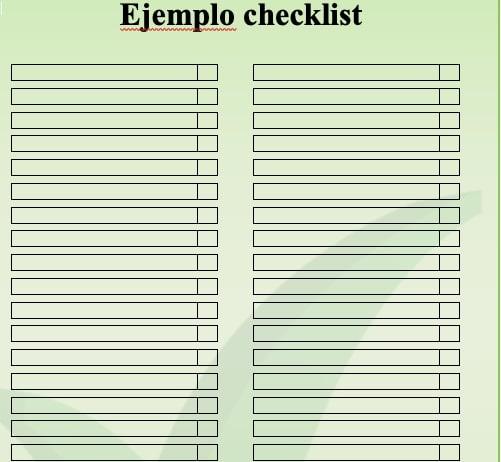 ejemplo checklist excel
